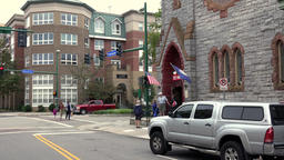 USA Virginia Norfolk street view with cars and Freemason Abbey Restaurant Image