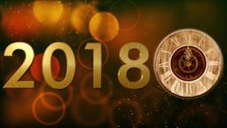 2018 with clock and Bokeh background Animación