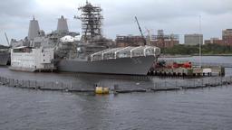 USA Virginia Norfolk military dockyards along the bay Footage
