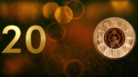2018 with clock and Bokeh background 4K Animación