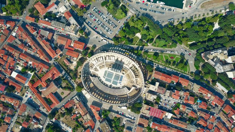 Pula city and famous ancient Roman amphitheatre in Croatia Archivo