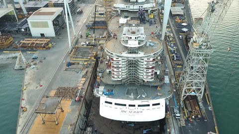 MONFALCONE, ITALY - AUGUST 9, 2017. Aerial view of unfinished cruise ship MSC Image