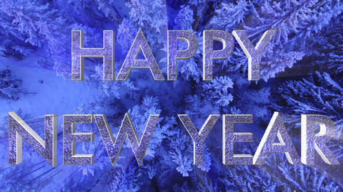 Happy New Year with forest background CG動画素材