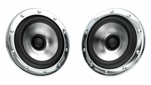 White loudspeakers looping 3D animation with alpha mask Animation