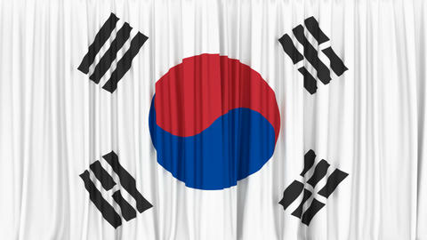 Realistic 3D animation of the National flag of South Korea as the curtain Animación