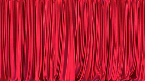 Red curtains realistic 3D animation with alpha matte Animation