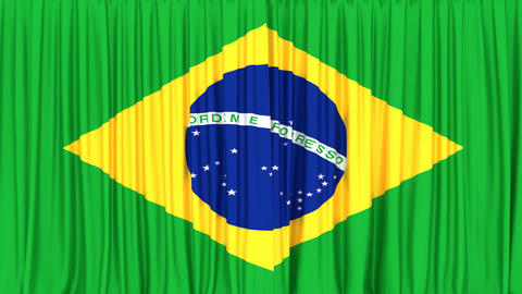 Realistic 3D animation of the National flag of Brazil as the curtain Animation