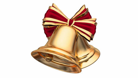 Native 60 fps looping 3D animation of the golden Christmas bells Animation