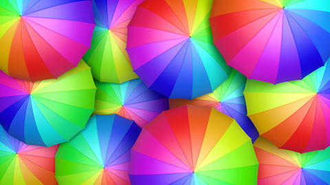 Multicolored umbrellas looping 3D animation Animation