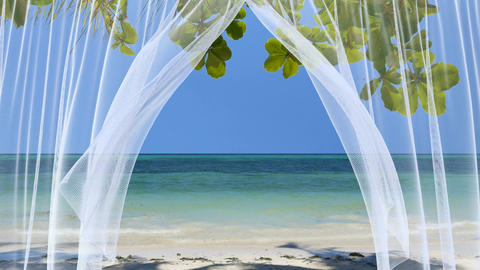 White sheer curtains against the peaceful tropical beach Animation