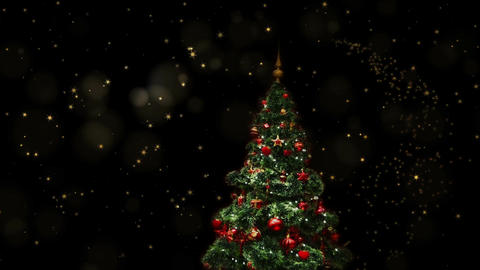 Decorated blinking Christmas tree, shining in the starry night Animation