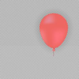 Red helium balloon on transparent background. Vector Vector