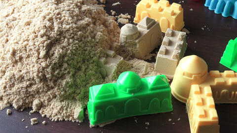Kinetic sand heap for children. Kinetic sand close-up Footage