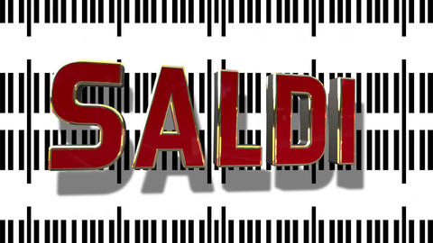 Italian Sale 3D Looping Animation With Barcode Abstract Line Background Archivo