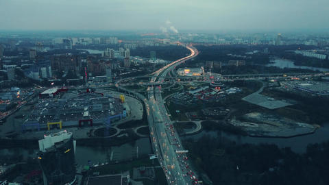 Aerial time lapse of big city highways intersection. Huge traffic jam near ビデオ