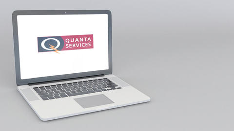 Opening and closing laptop with Quanta Services logo. 4K editorial animation Footage