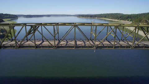 Aerial view of the Agate Pass Bridge - Seattle, Bainbridge Island, USA Footage