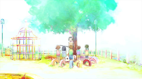 Elementary school girl playing the violin in the park Footage