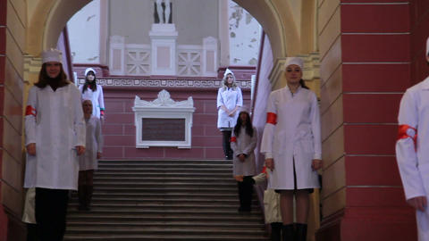 Interns honor guard at the entrance the medical institute Footage