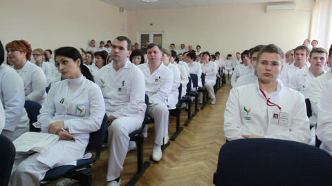 Symposium of doctors and professors of science and medicine Stock Video Footage