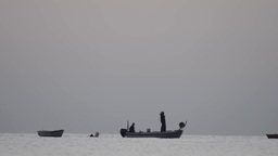 Fishermen who were out at sea to fisheries with a boat in the early hours of the Footage