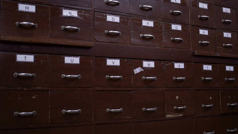 Index Cards Card Catalog Drawer Side View Stock Video Footage