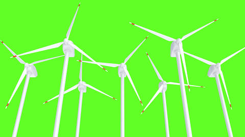 UHD 3D looping animation of the wind turbine against green Animation
