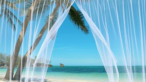 White sheer curtains against the peaceful tropical beach Animation
