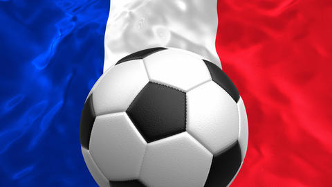 3D looping animation of the soccer ball rotating against the flag of France Animation