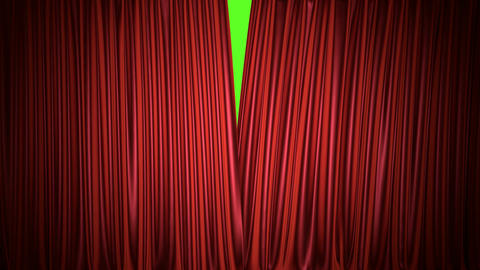 Theater red curtain 3D animation with chroma key and alpha mask Animation
