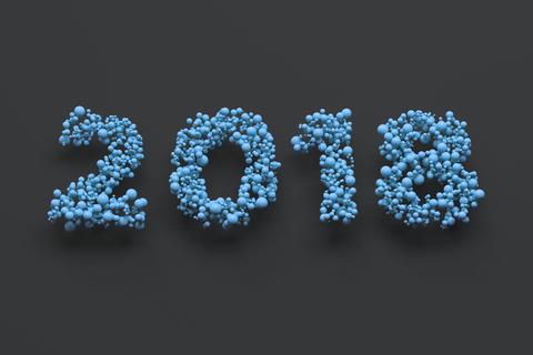 2018 number from blue balls on black background Foto