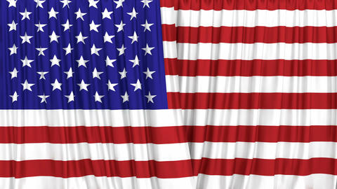 Realistic 3D animation of the US flag curtains against green screen Animación