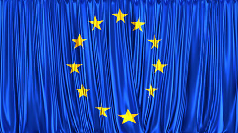 Realistic 3D animation of the flag of European Union as the curtain Animación