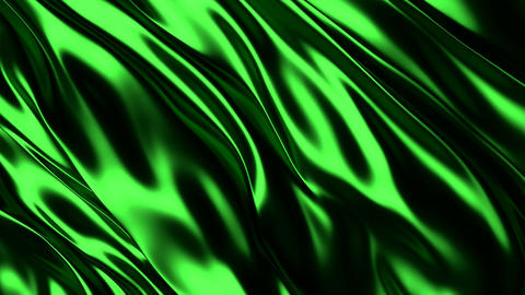 3D realistic animation of the green silky waving background Animation