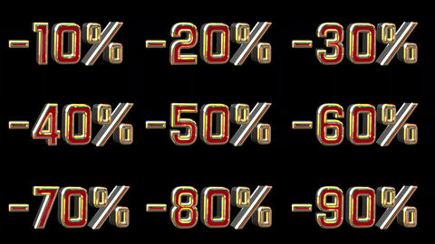 Different Numbers With Percentage Discount Footage