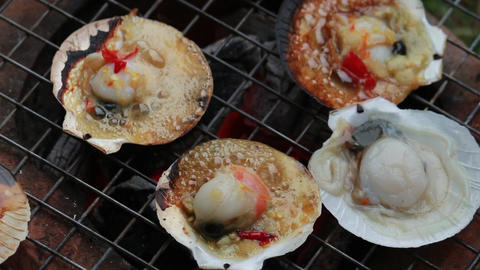 seafood Shell grilling outdoor 画像