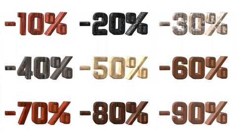 Different Wooden Numbers With Percentage Discount Live Action