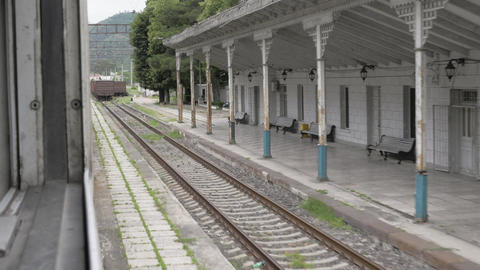 Railway station in old Georgian city Archivo