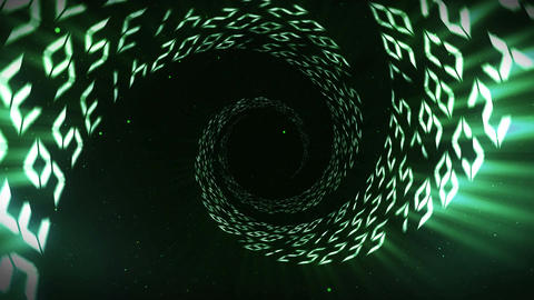 Illuminated tunnel of green numbers, Spin lines, Loop Animation