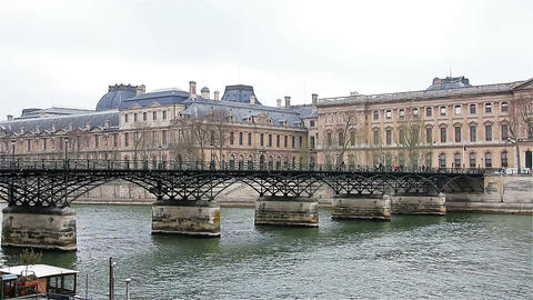 Paris - France, March 22, 2016: Pont over Seine in Paris, french cityscape Footage