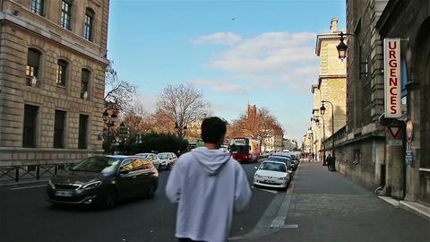 PARIS, FRANCE - March 23, 2016: tourists walking near Louvre in Paris, France Live Action