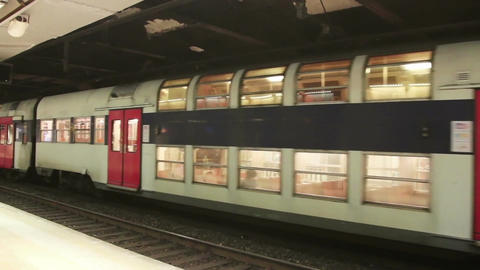 PARIS, FRANCE - March 22, 2016: Train in subway, Metro in Paris, France Live Action