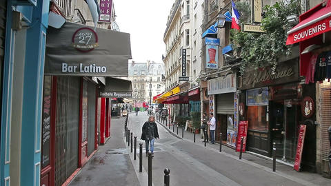 PARIS, FRANCE - March 22, 2016: Narrow street in Latin Quarter in Paris Footage