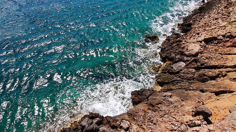 Top view of the rocky coast of the Mediterranean Sea. Crete. Greece Footage