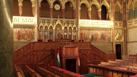 BUDAPEST, HUNGARY - MAY 8, 2016: Interior view of Parliament Building Footage