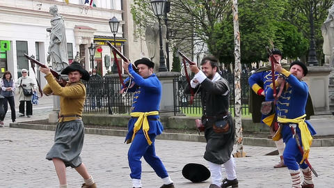 Kosice, Slovakia - May 08, 2016: Musketeers shooting at the city festival 画像