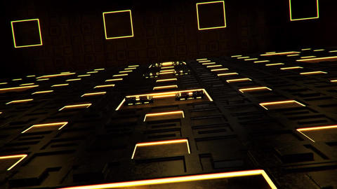 3D Gold Sci-Fi Tech Room Environment Intro Logo Background Animation