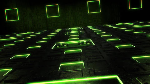 3D Green Sci-Fi Tech Room Environment Intro Logo Background Animation