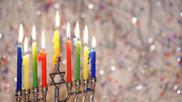 Star of David Hanukkah menorah Footage