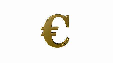 Euro sign rotating isolated, seamless loop, white screen Footage